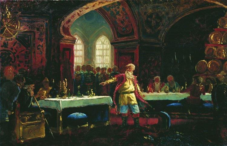 Makovskij-Konstantin-knyaz-repin-na-piru-u-ivana-groznogo