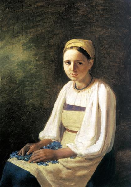 Venecianov-Aleksey-krestyanka-s-vasilkami