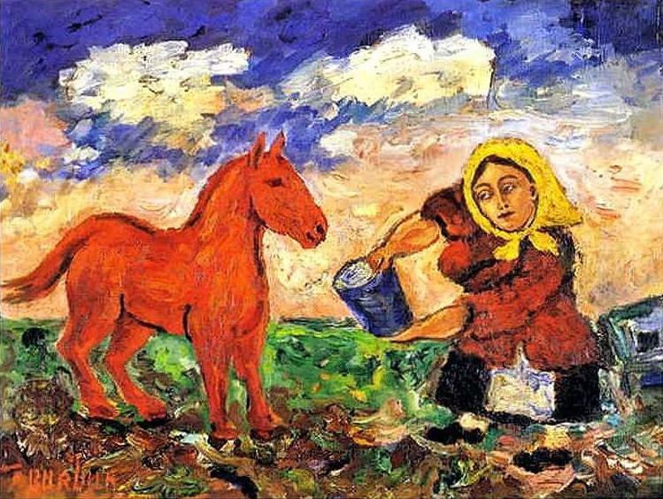 Burlyuk-David-krestyanka-i-loshad