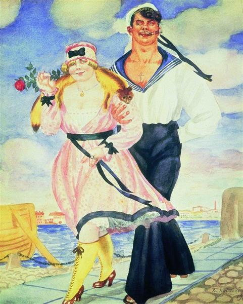 Kustodiev-Boris-matros-i-milaya
